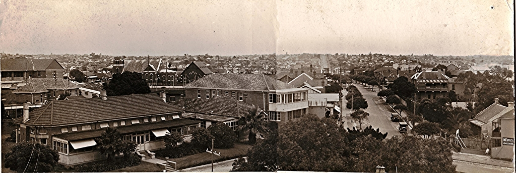Panoramic view from the top of St George Hospital, Kogarah NSW. With permission from Kogarah Library and Cultural Services - Local History Library